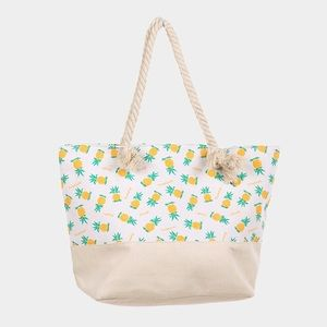 Beige Pineapple Print Beach Bag